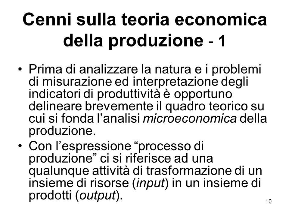 10 Cenni sulla teoria economica della produzione - 1 Prima di analizzare la natura e i problemi di misurazione ed interpretazione degli indicatori di produttività è opportuno delineare brevemente il quadro teorico su cui si fonda l'analisi microeconomica della produzione.