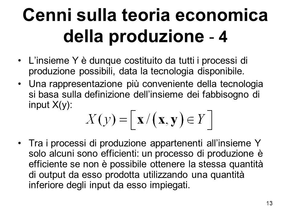 13 Cenni sulla teoria economica della produzione - 4 L'insieme Y è dunque costituito da tutti i processi di produzione possibili, data la tecnologia disponibile.