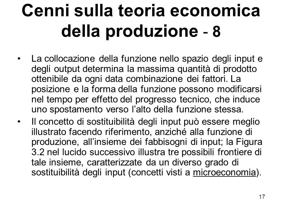 17 Cenni sulla teoria economica della produzione - 8 La collocazione della funzione nello spazio degli input e degli output determina la massima quantità di prodotto ottenibile da ogni data combinazione dei fattori.