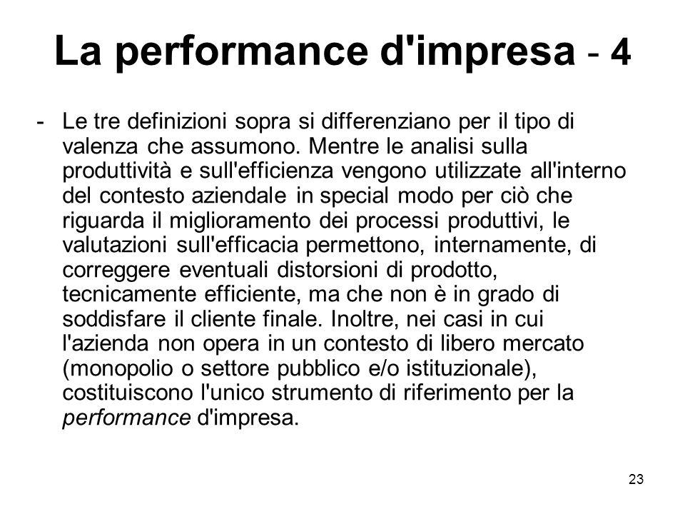 23 La performance d impresa - 4 -Le tre definizioni sopra si differenziano per il tipo di valenza che assumono.