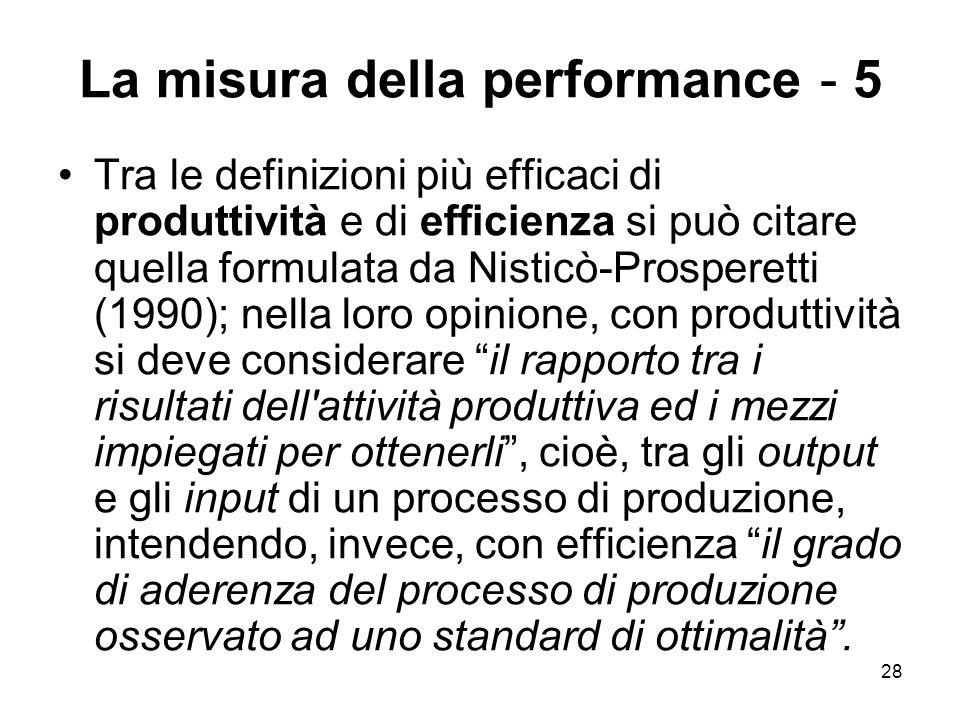 28 La misura della performance - 5 Tra le definizioni più efficaci di produttività e di efficienza si può citare quella formulata da Nisticò-Prosperetti (1990); nella loro opinione, con produttività si deve considerare il rapporto tra i risultati dell attività produttiva ed i mezzi impiegati per ottenerli , cioè, tra gli output e gli input di un processo di produzione, intendendo, invece, con efficienza il grado di aderenza del processo di produzione osservato ad uno standard di ottimalità .