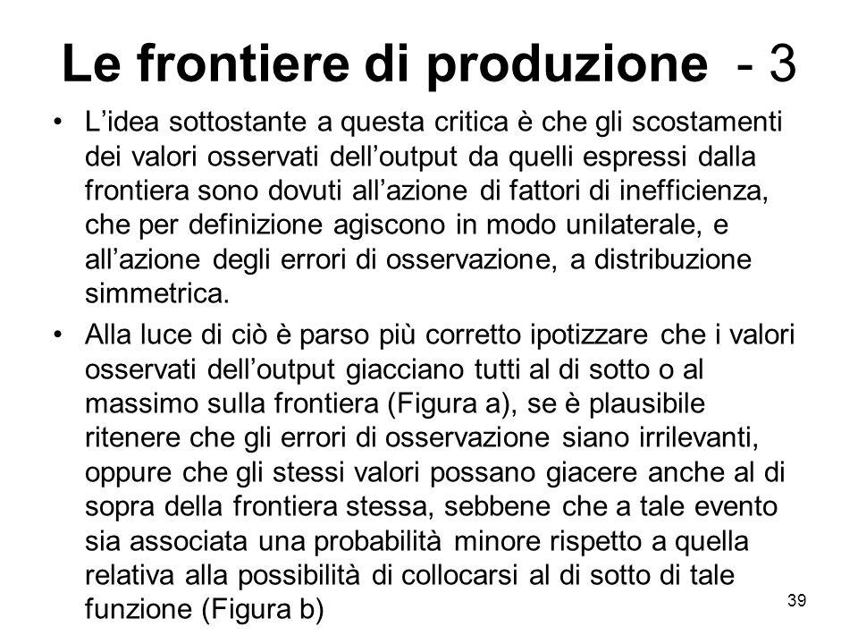 39 Le frontiere di produzione - 3 L'idea sottostante a questa critica è che gli scostamenti dei valori osservati dell'output da quelli espressi dalla frontiera sono dovuti all'azione di fattori di inefficienza, che per definizione agiscono in modo unilaterale, e all'azione degli errori di osservazione, a distribuzione simmetrica.