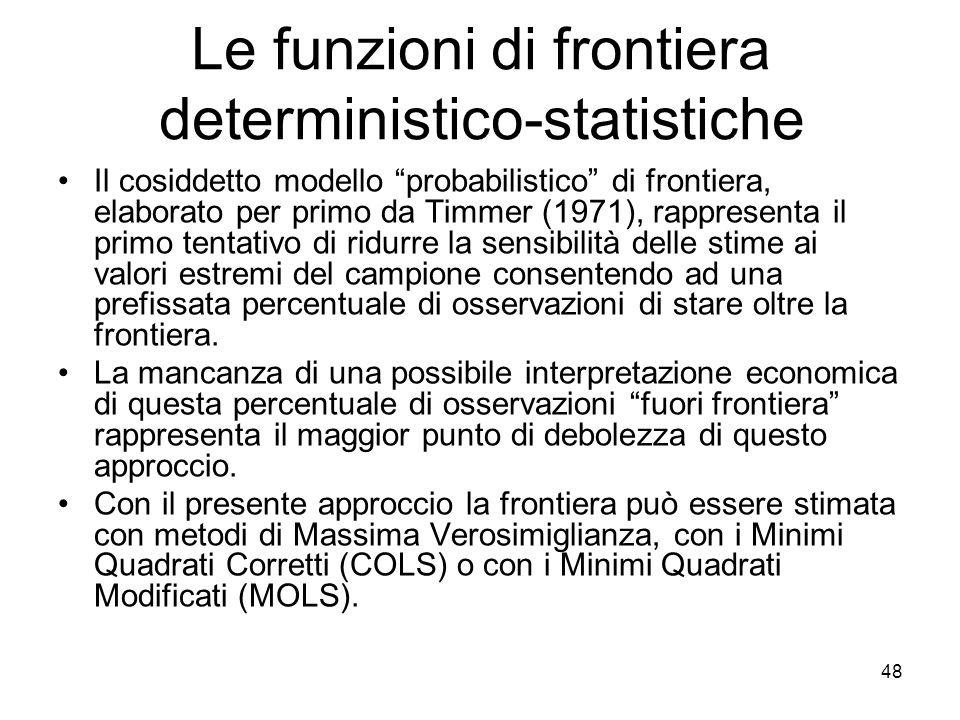 48 Le funzioni di frontiera deterministico-statistiche Il cosiddetto modello probabilistico di frontiera, elaborato per primo da Timmer (1971), rappresenta il primo tentativo di ridurre la sensibilità delle stime ai valori estremi del campione consentendo ad una prefissata percentuale di osservazioni di stare oltre la frontiera.