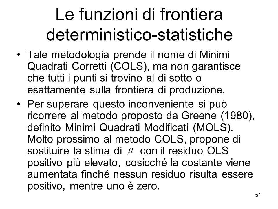 51 Le funzioni di frontiera deterministico-statistiche Tale metodologia prende il nome di Minimi Quadrati Corretti (COLS), ma non garantisce che tutti i punti si trovino al di sotto o esattamente sulla frontiera di produzione.