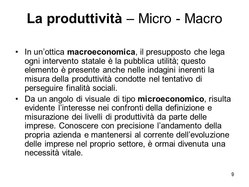 9 La produttività – Micro - Macro In un'ottica macroeconomica, il presupposto che lega ogni intervento statale è la pubblica utilità; questo elemento è presente anche nelle indagini inerenti la misura della produttività condotte nel tentativo di perseguire finalità sociali.