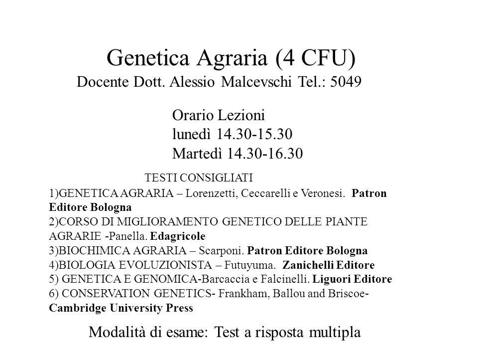 TESTI CONSIGLIATI 1)GENETICA AGRARIA – Lorenzetti, Ceccarelli e Veronesi. Patron Editore Bologna 2)CORSO DI MIGLIORAMENTO GENETICO DELLE PIANTE AGRARI