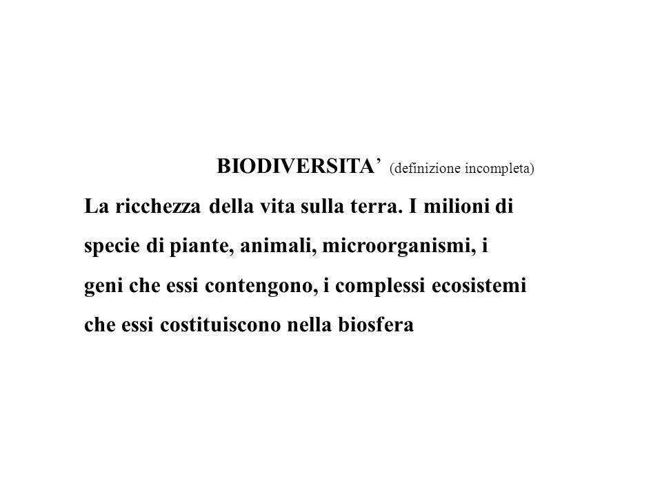 BIODIVERSITA' (definizione incompleta) La ricchezza della vita sulla terra. I milioni di specie di piante, animali, microorganismi, i geni che essi co