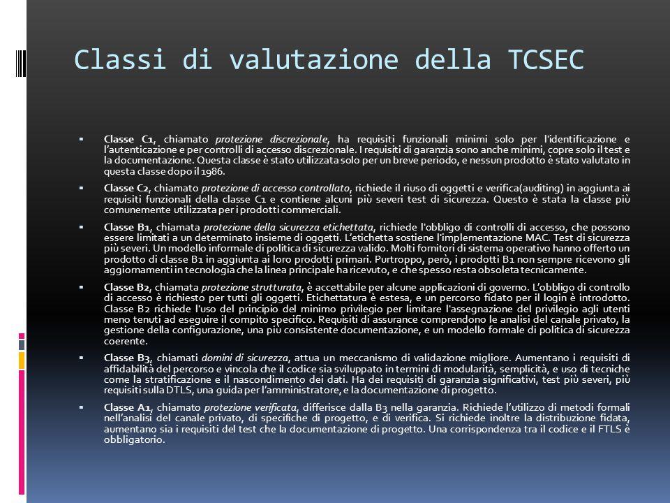 Classi di valutazione della TCSEC  Classe C1, chiamato protezione discrezionale, ha requisiti funzionali minimi solo per l identificazione e l'autenticazione e per controlli di accesso discrezionale.