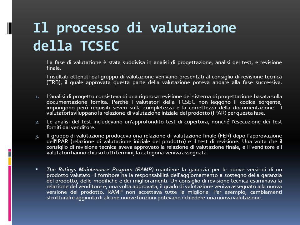 Il processo di valutazione della TCSEC La fase di valutazione è stata suddivisa in analisi di progettazione, analisi del test, e revisione finale.