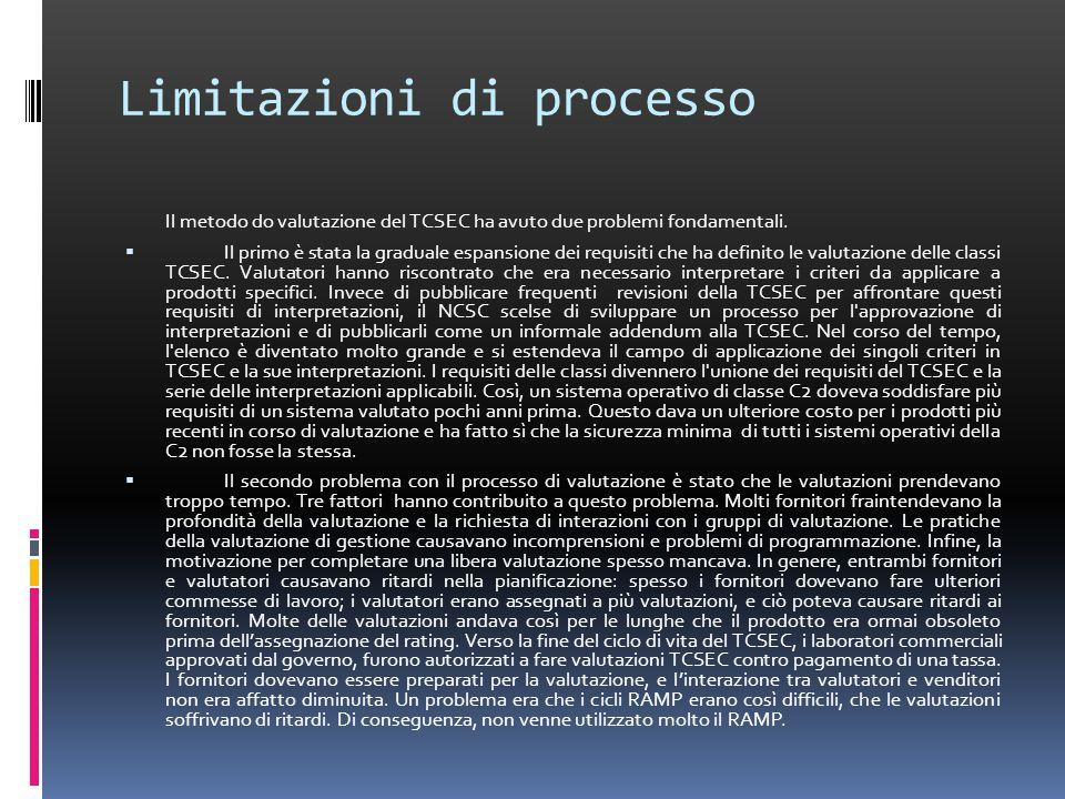 Limitazioni di processo Il metodo do valutazione del TCSEC ha avuto due problemi fondamentali.