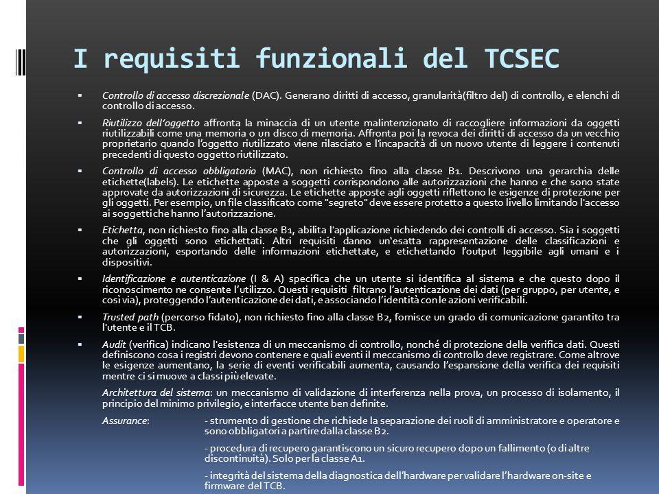 I requisiti funzionali del TCSEC  Controllo di accesso discrezionale (DAC).