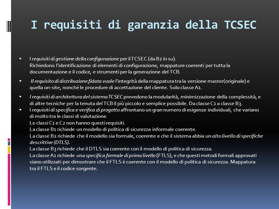I requisiti di garanzia della TCSEC  I requisiti di gestione della configurazione per il TCSEC (da B2 in su).