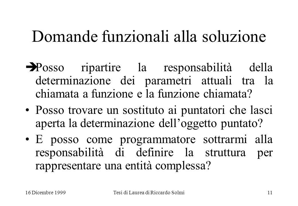 16 Dicembre 1999Tesi di Laurea di Riccardo Solmi11 Domande funzionali alla soluzione  Posso ripartire la responsabilità della determinazione dei parametri attuali tra la chiamata a funzione e la funzione chiamata.