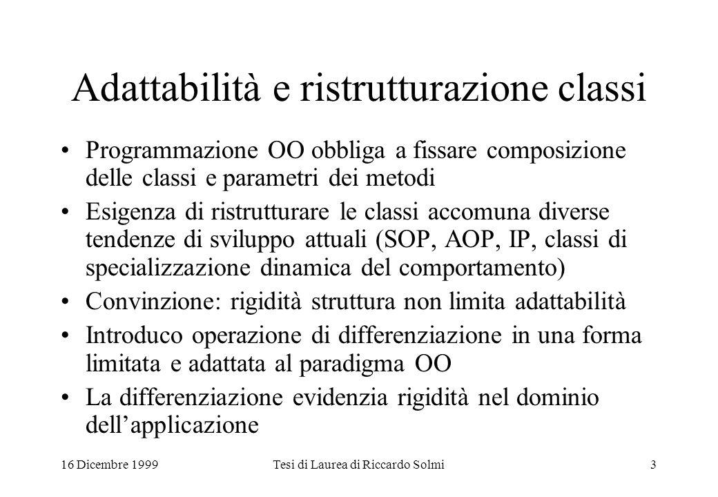 16 Dicembre 1999Tesi di Laurea di Riccardo Solmi3 Adattabilità e ristrutturazione classi Programmazione OO obbliga a fissare composizione delle classi