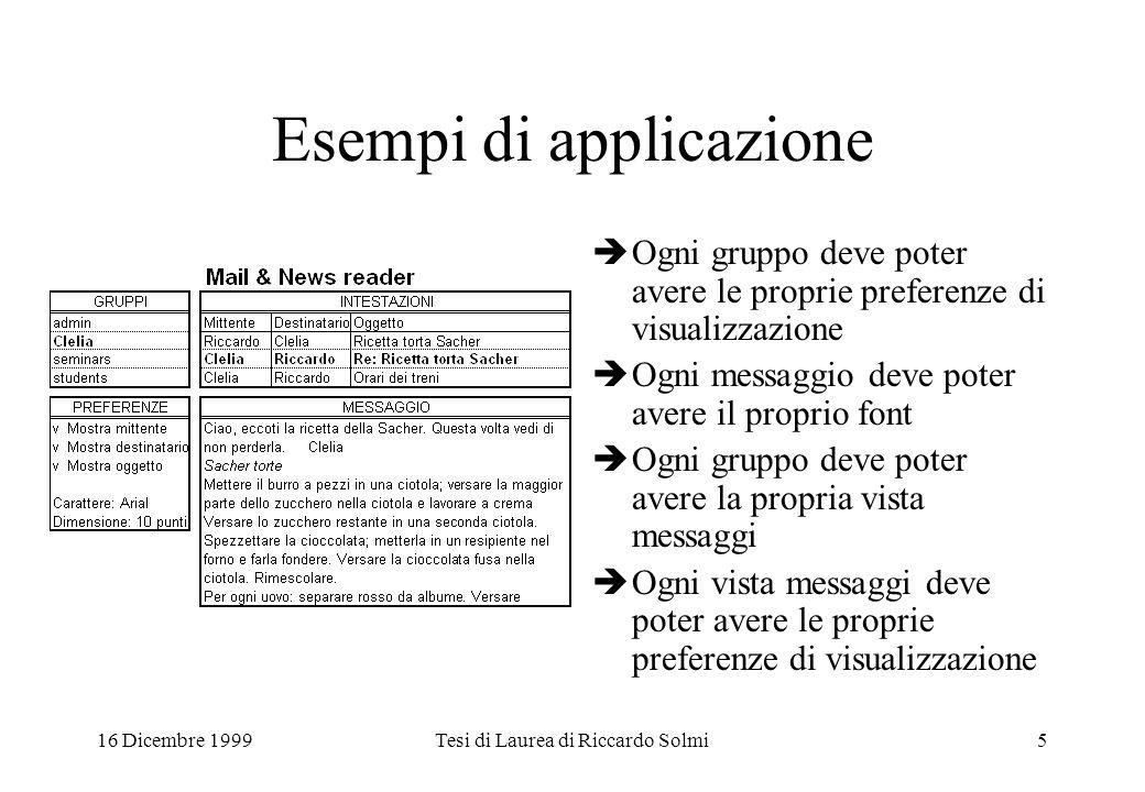 16 Dicembre 1999Tesi di Laurea di Riccardo Solmi5 Esempi di applicazione  Ogni gruppo deve poter avere le proprie preferenze di visualizzazione  Ogn