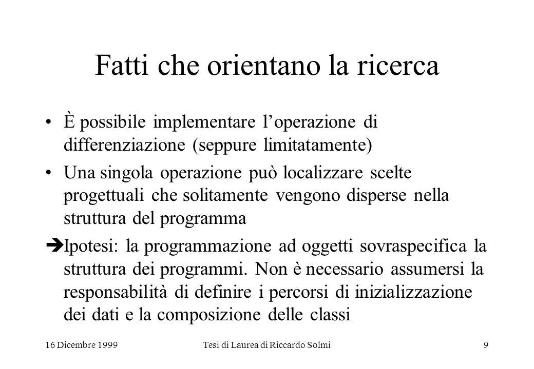 16 Dicembre 1999Tesi di Laurea di Riccardo Solmi9 Fatti che orientano la ricerca È possibile implementare l'operazione di differenziazione (seppure li