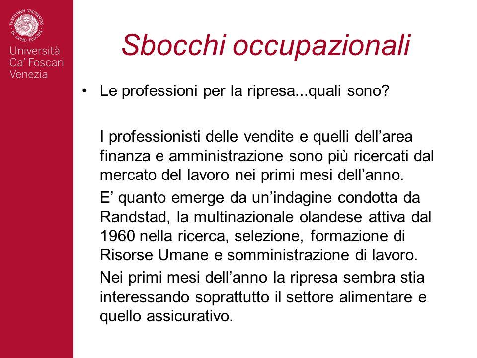 Sbocchi occupazionali Le professioni per la ripresa...quali sono.