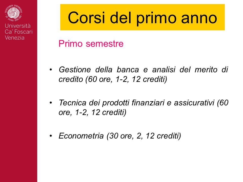 Corsi del primo anno Primo semestre Gestione della banca e analisi del merito di credito (60 ore, 1-2, 12 crediti) Tecnica dei prodotti finanziari e assicurativi (60 ore, 1-2, 12 crediti) Econometria (30 ore, 2, 12 crediti)