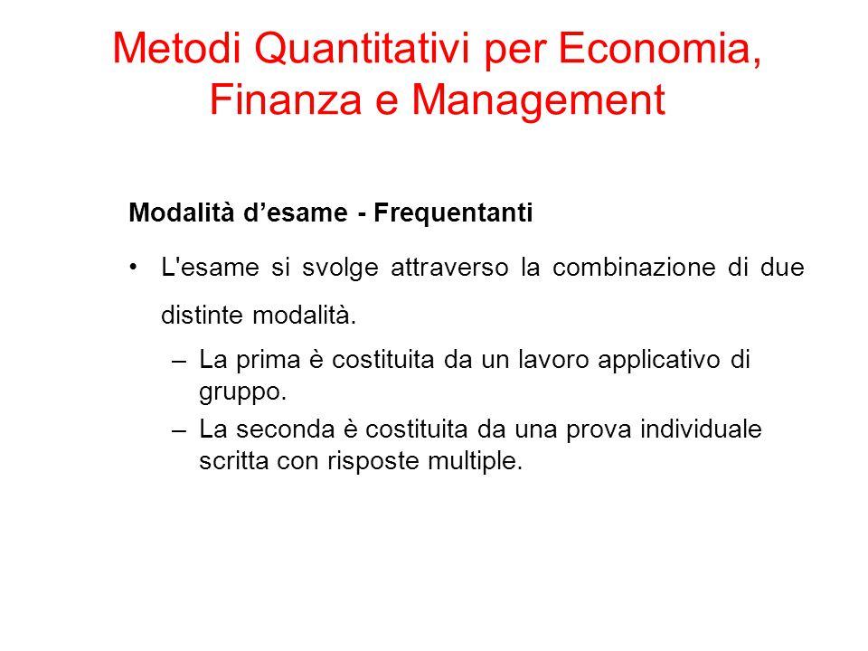 Agenda: Business Intelligence & Data Sources Internal Data External Data Metodi Quantitativi per Economia, Finanza e Management