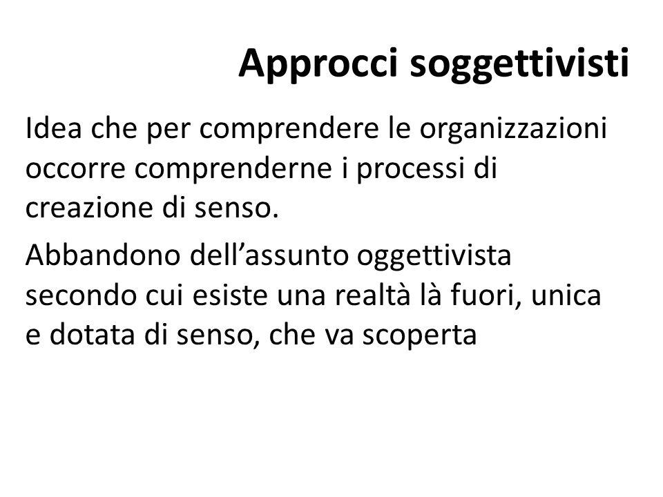 Approcci soggettivisti Idea che per comprendere le organizzazioni occorre comprenderne i processi di creazione di senso.