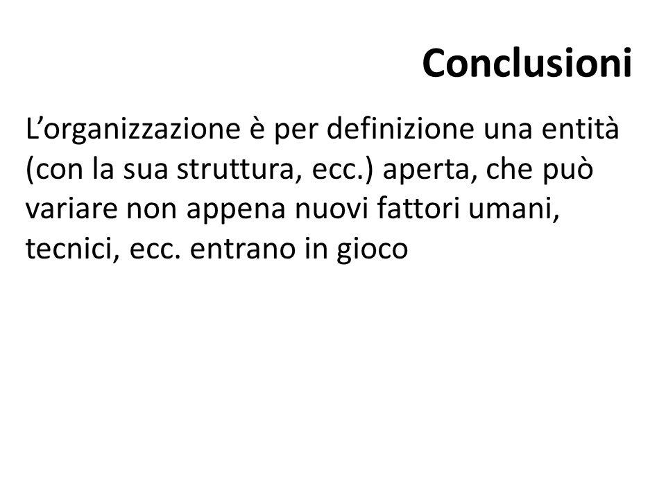 Conclusioni L'organizzazione è per definizione una entità (con la sua struttura, ecc.) aperta, che può variare non appena nuovi fattori umani, tecnici, ecc.