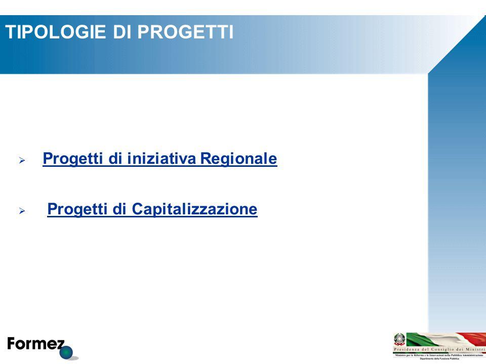 TIPOLOGIE DI PROGETTI  Progetti di iniziativa Regionale  Progetti di Capitalizzazione