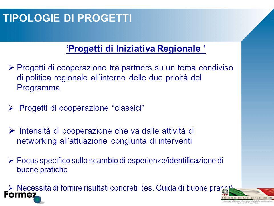 TIPOLOGIE DI PROGETTI 'Progetti di Iniziativa Regionale '  Progetti di cooperazione tra partners su un tema condiviso di politica regionale all'inter