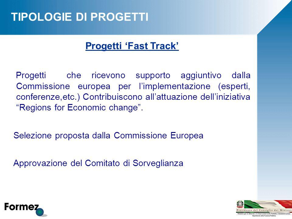 Progetti 'Fast Track' Progetti che ricevono supporto aggiuntivo dalla Commissione europea per l'implementazione (esperti, conferenze,etc.) Contribuiscono all'attuazione dell'iniziativa Regions for Economic change .