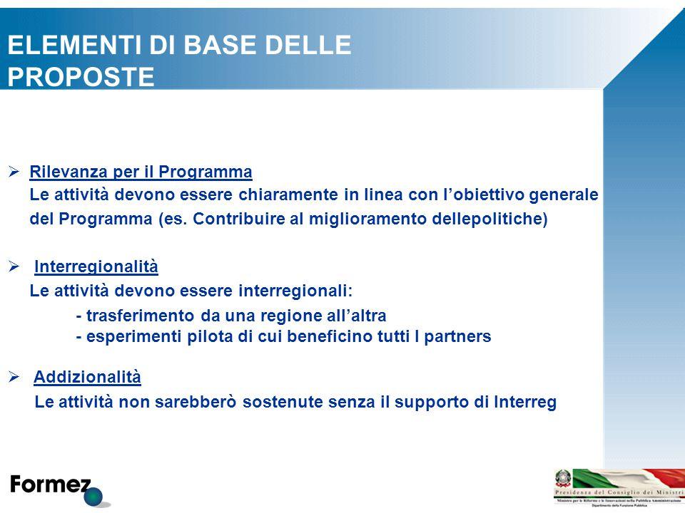  Rilevanza per il Programma Le attività devono essere chiaramente in linea con l'obiettivo generale del Programma (es.