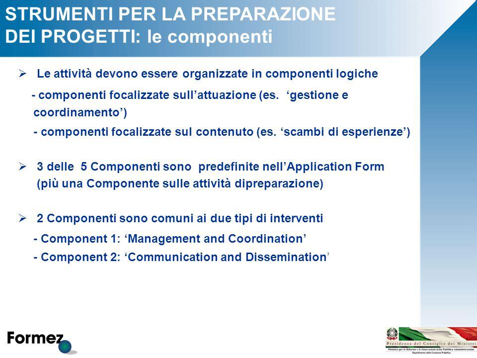 STRUMENTI PER LA PREPARAZIONE DEI PROGETTI: le componenti  Le attività devono essere organizzate in componenti logiche - componenti focalizzate sull'attuazione (es.