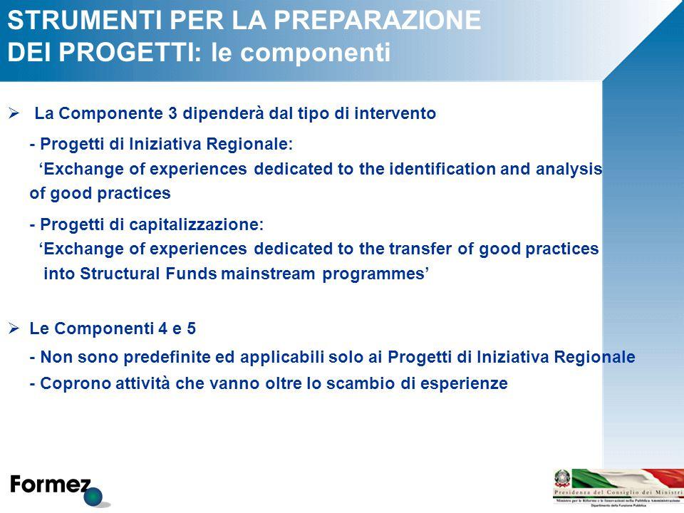 STRUMENTI PER LA PREPARAZIONE DEI PROGETTI: le componenti  La Componente 3 dipenderà dal tipo di intervento - Progetti di Iniziativa Regionale: 'Exch