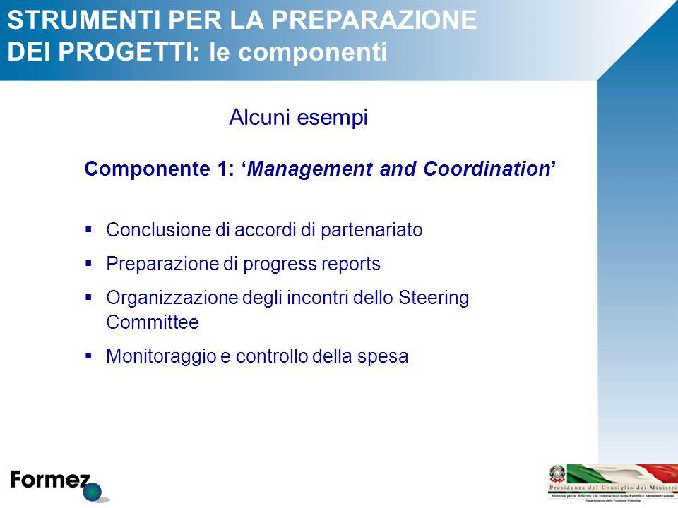 STRUMENTI PER LA PREPARAZIONE DEI PROGETTI: le componenti Componente 1: 'Management and Coordination'  Conclusione di accordi di partenariato  Prepa