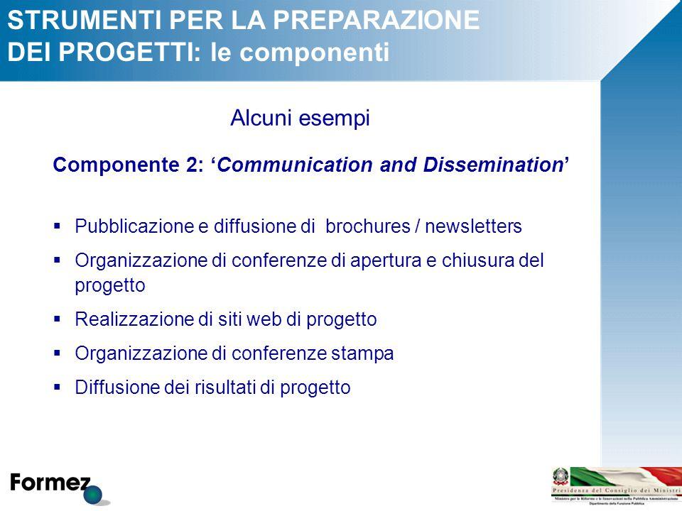 STRUMENTI PER LA PREPARAZIONE DEI PROGETTI: le componenti Alcuni esempi Componente 2: 'Communication and Dissemination'  Pubblicazione e diffusione d