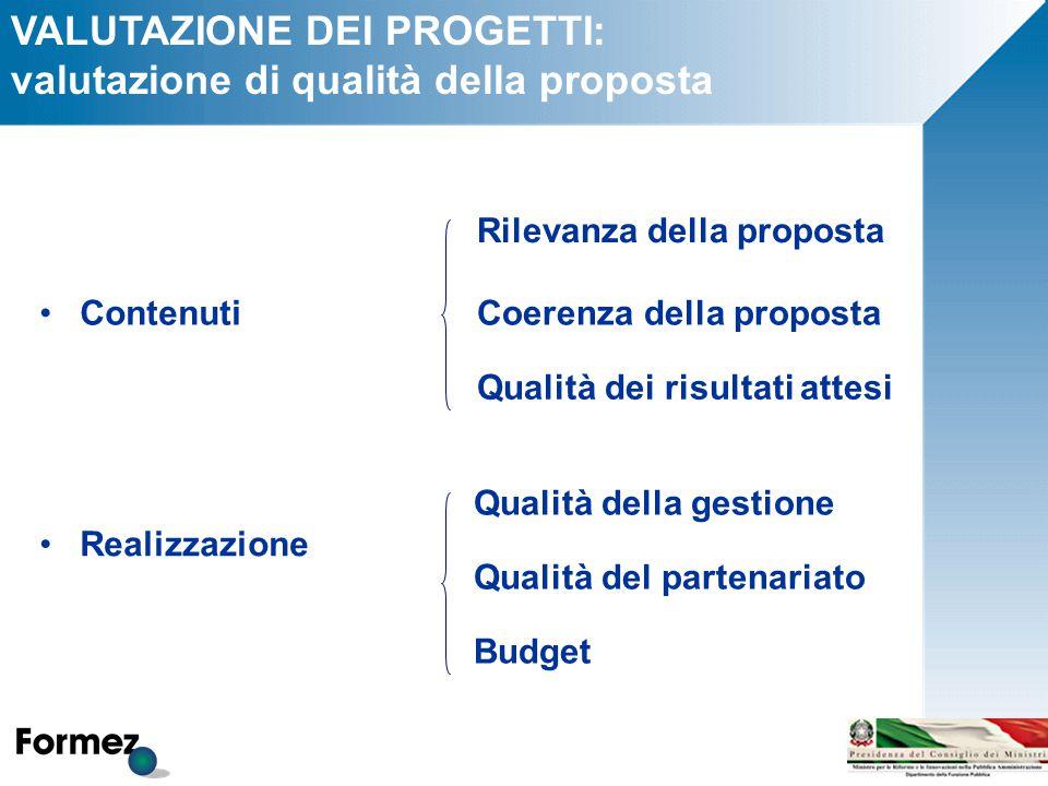 VALUTAZIONE DEI PROGETTI: valutazione di qualità della proposta Rilevanza della proposta Coerenza della proposta Qualità dei risultati attesi Qualità della gestione Qualità del partenariato Budget Contenuti Realizzazione