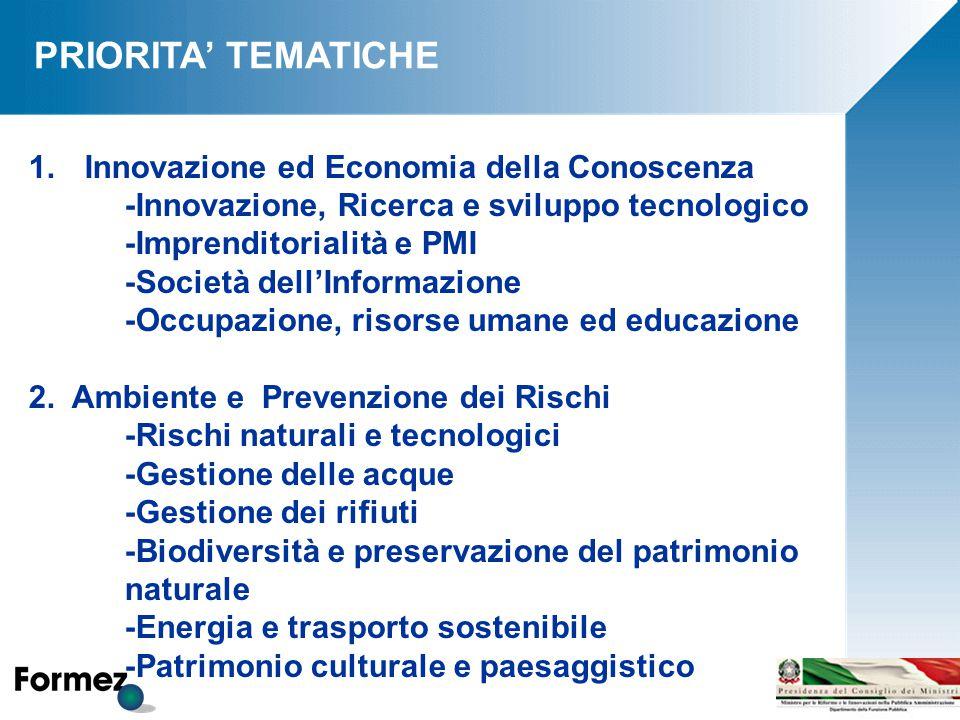 PRIORITA' TEMATICHE 1.Innovazione ed Economia della Conoscenza -Innovazione, Ricerca e sviluppo tecnologico -Imprenditorialità e PMI -Società dell'Informazione -Occupazione, risorse umane ed educazione 2.