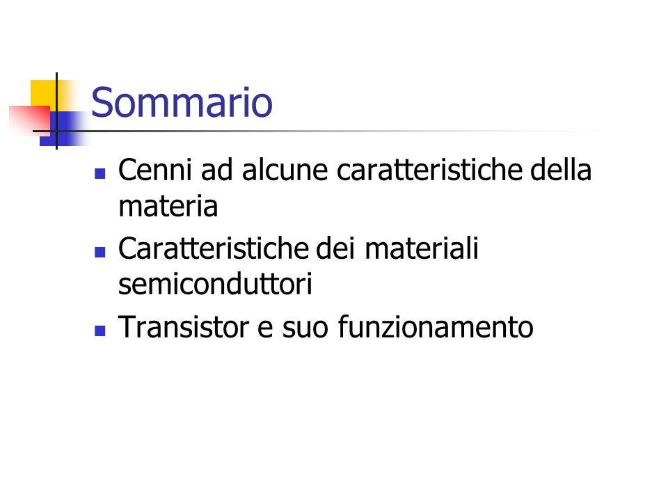Sommario Cenni ad alcune caratteristiche della materia Caratteristiche dei materiali semiconduttori Transistor e suo funzionamento