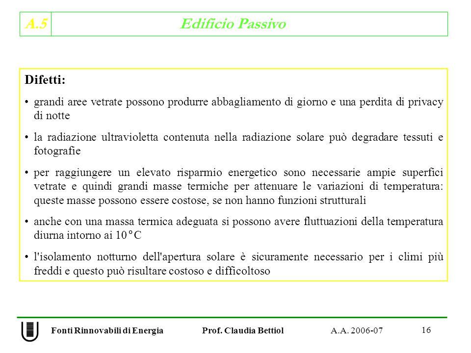 A.5 Edificio Passivo 16 Fonti Rinnovabili di Energia Prof.