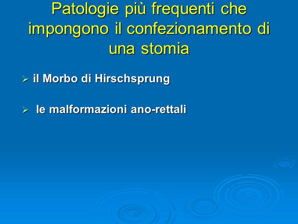 il Morbo di Hirschsprung  le malformazioni ano-rettali Patologie più frequenti che impongono il confezionamento di una stomia