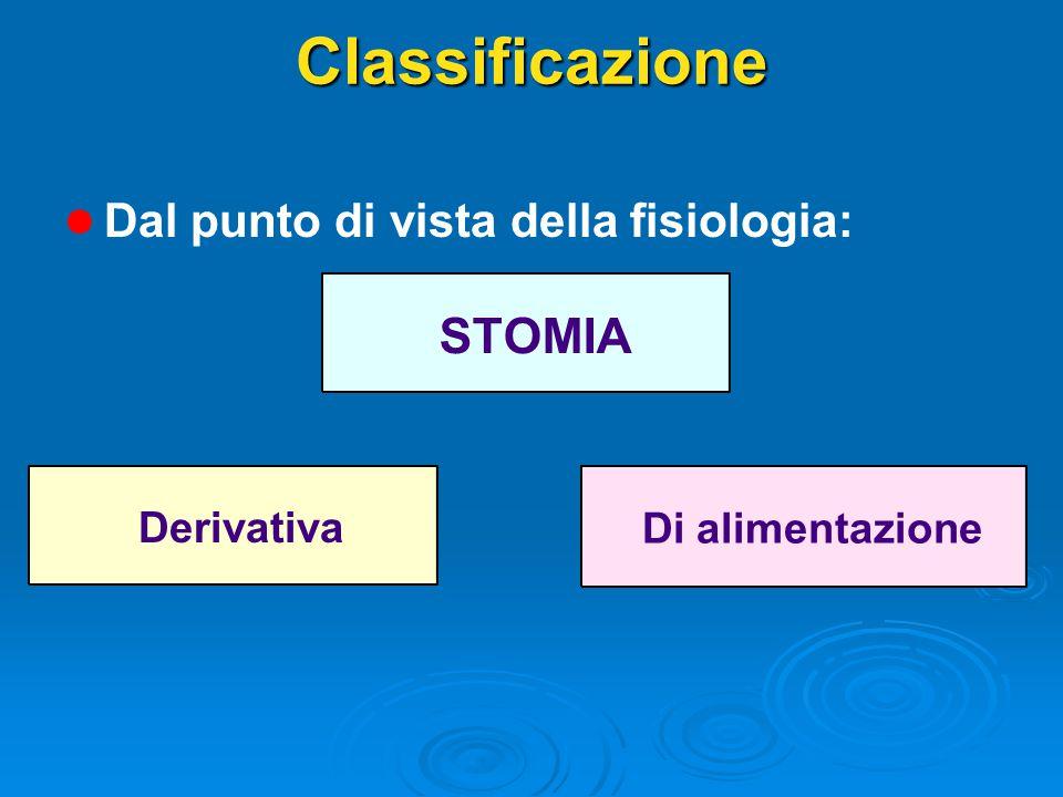 Classificazione l l Dal punto di vista della fisiologia: STOMIA Derivativa Di alimentazione