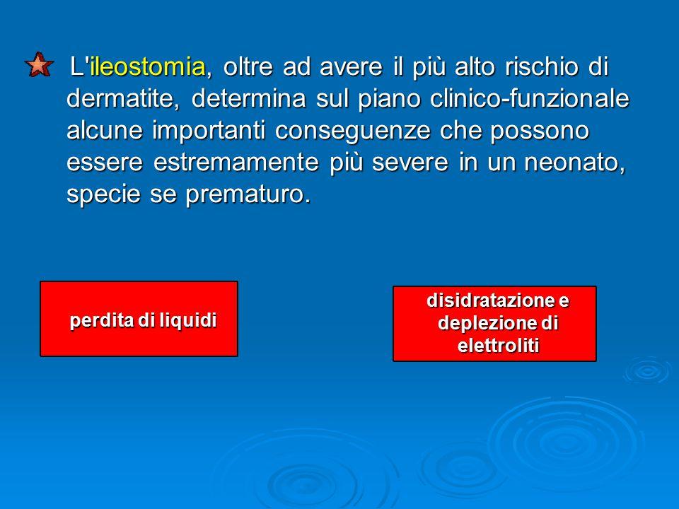 L ileostomia, oltre ad avere il più alto rischio di dermatite, determina sul piano clinico-funzionale alcune importanti conseguenze che possono essere estremamente più severe in un neonato, specie se prematuro.