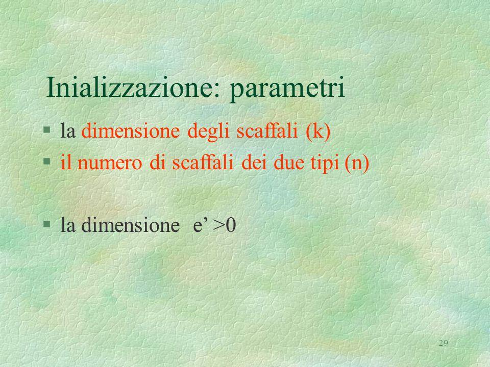29 Inializzazione: parametri §la dimensione degli scaffali (k) §il numero di scaffali dei due tipi (n) §la dimensione e' >0