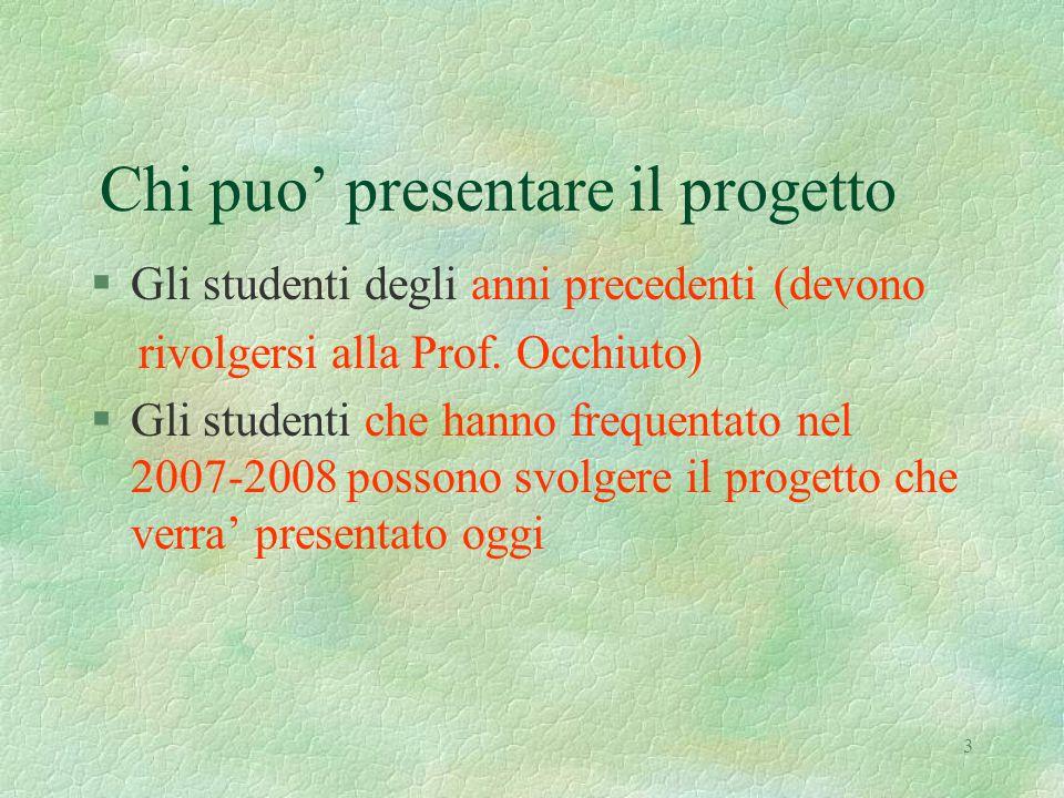 3 Chi puo' presentare il progetto §Gli studenti degli anni precedenti (devono rivolgersi alla Prof.