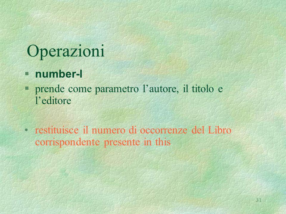 31 Operazioni  number-l §prende come parametro l'autore, il titolo e l'editore restituisce il numero di occorrenze del Libro corrispondente presente in this
