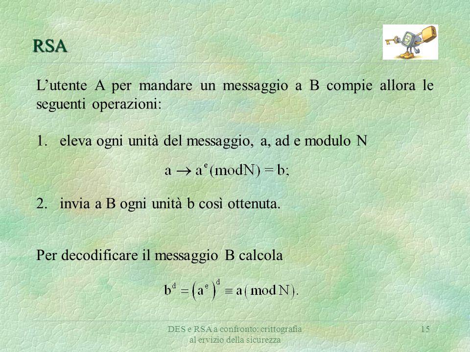 DES e RSA a confronto: crittografia al ervizio della sicurezza 15 RSA L'utente A per mandare un messaggio a B compie allora le seguenti operazioni: 1.