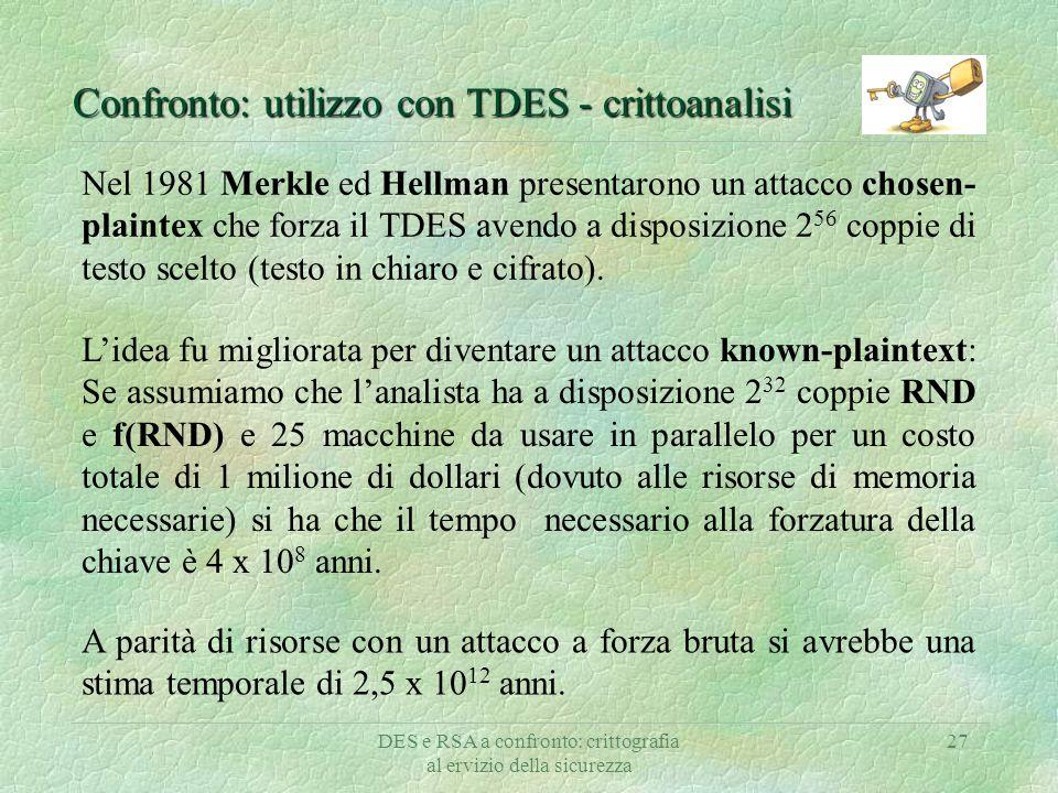 DES e RSA a confronto: crittografia al ervizio della sicurezza 27 Confronto: utilizzo con TDES - crittoanalisi Nel 1981 Merkle ed Hellman presentarono