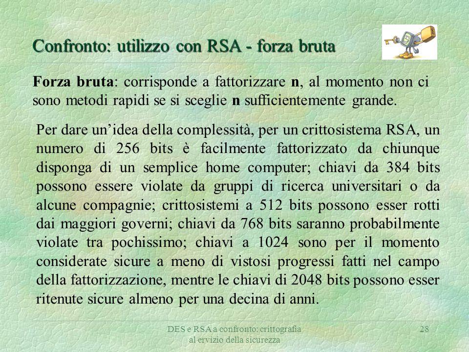 DES e RSA a confronto: crittografia al ervizio della sicurezza 28 Confronto: utilizzo con RSA - forza bruta Forza bruta: corrisponde a fattorizzare n,