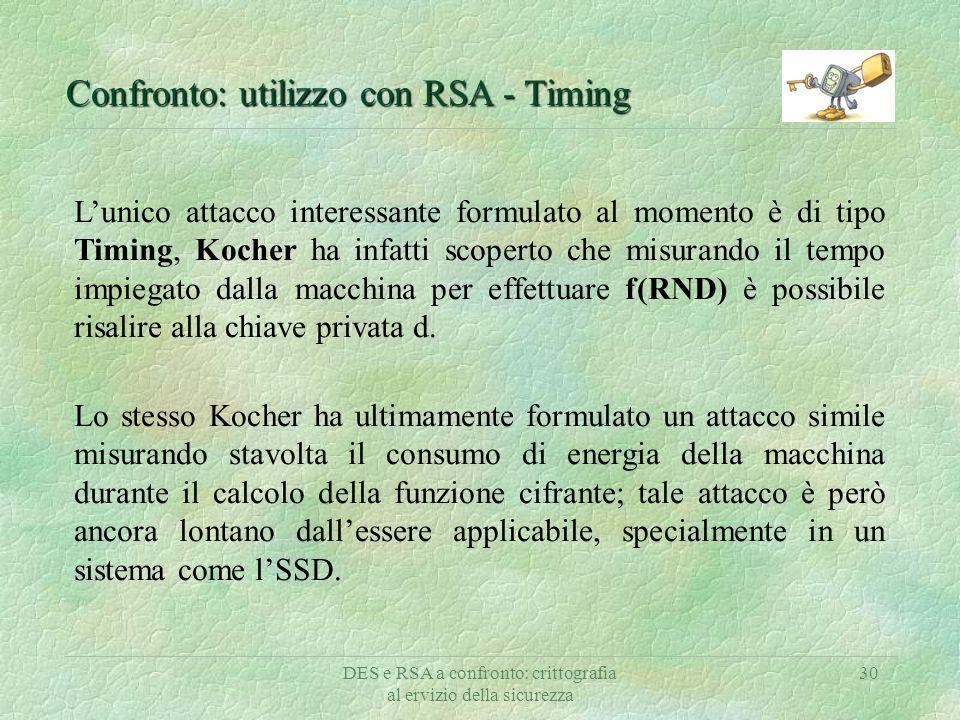 DES e RSA a confronto: crittografia al ervizio della sicurezza 30 Confronto: utilizzo con RSA - Timing L'unico attacco interessante formulato al momen