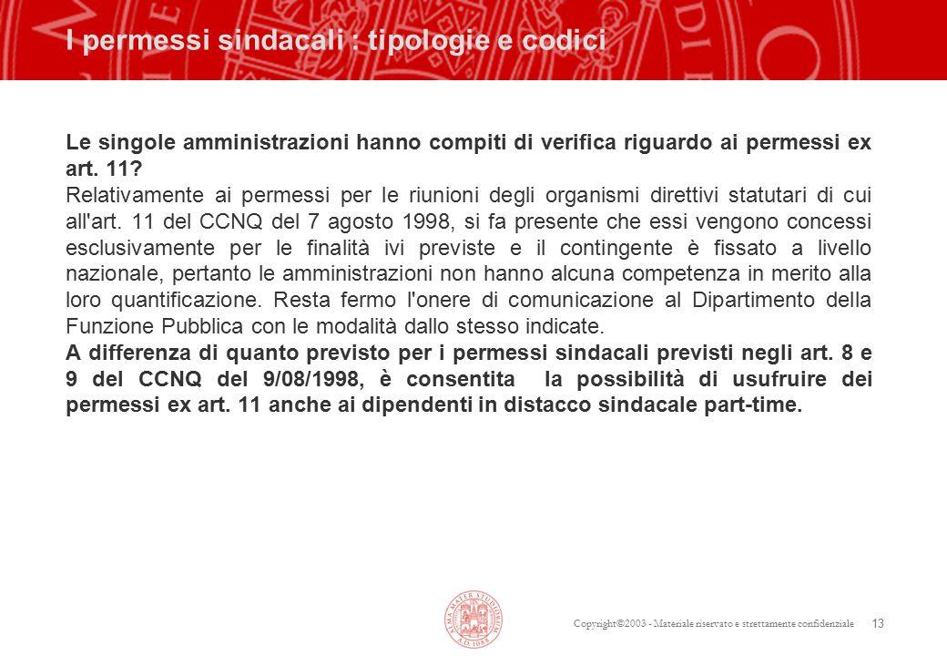 Copyright©2003 - Materiale riservato e strettamente confidenziale 13 I permessi sindacali : tipologie e codici Le singole amministrazioni hanno compiti di verifica riguardo ai permessi ex art.