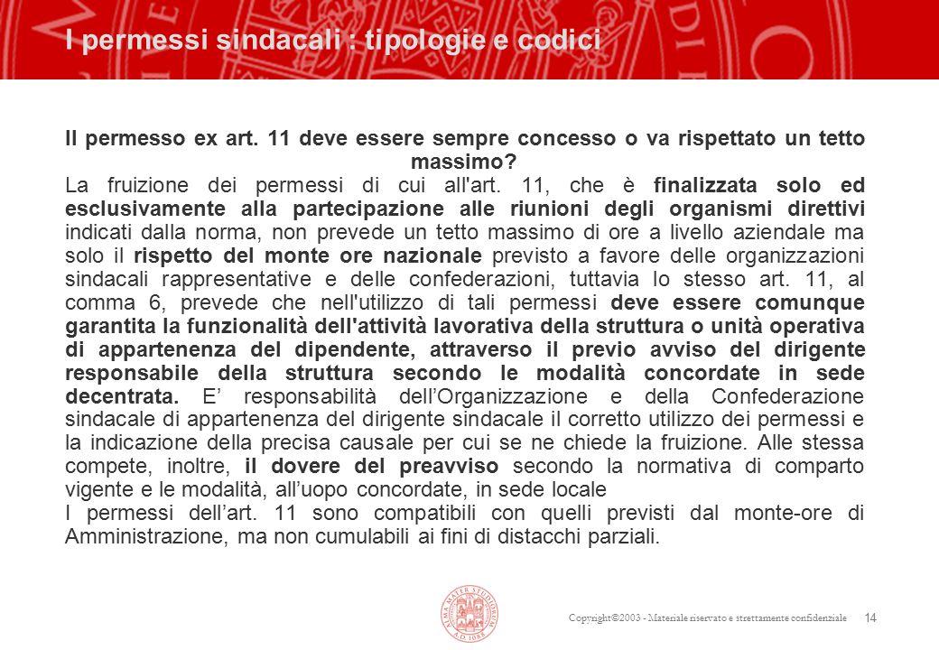 Copyright©2003 - Materiale riservato e strettamente confidenziale 14 I permessi sindacali : tipologie e codici Il permesso ex art.