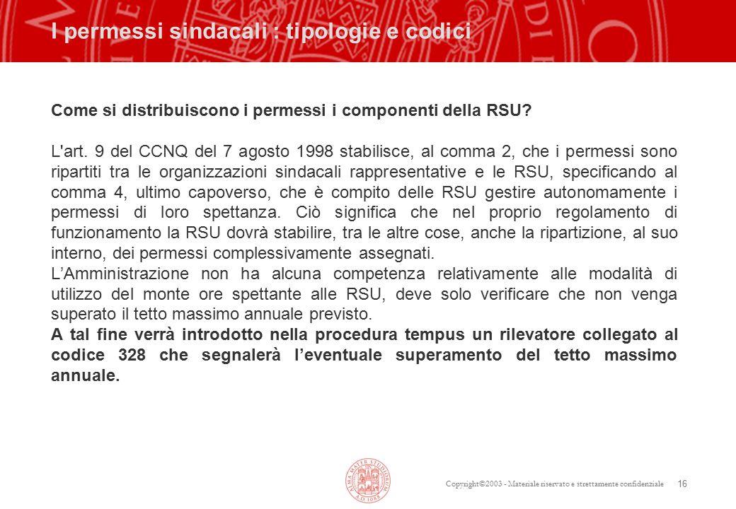 Copyright©2003 - Materiale riservato e strettamente confidenziale 16 I permessi sindacali : tipologie e codici Come si distribuiscono i permessi i componenti della RSU.